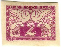 Czechoslovakia 'love birds' postage stamp designed by Alphonse Mucha