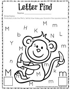 Letter Find worksheet for kindergarten and preschool. Great for letter recognition and counting. Preschool Letter M, Letter M Crafts, Letter M Activities, Toddler Activities, Letter M Worksheets, Preschool Learning, Kindergarten Worksheets, Super Worksheets, Kindergarten Crafts