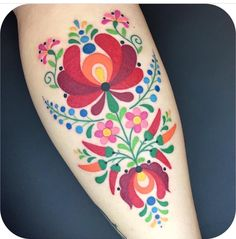 These folk art tattoos are eerily reminiscent of some vintage fabric that might .These folk art tattoos are eerily reminiscent of some vintage fabric that might be lingering around your grandmother's house. Pretty Tattoos, Beautiful Tattoos, Hungarian Tattoo, Hungarian Embroidery, Finnish Tattoo, Swedish Tattoo, Ukrainian Tattoo, German Tattoo, Russian Tattoo