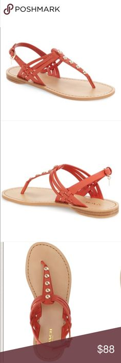 COACH FLAT SANDALS Logo-etched gunmetal studs detail the thong strap on a chic flat sandal shaped from smooth leather in an essential, wear-everyday style for your warm-weather wardrobe. Adjustable ankle strap with buckle closure. Leather upper/synthetic lining and sole. By COACH. No box. Coach Shoes Sandals