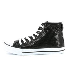Women's fabric sneakers covered in sequins with rubber sole in Marc Royal. Converse Chuck Taylor High, Converse High, High Top Sneakers, Chuck Taylors High Top, High Tops, Shoes, Black, Women, Fashion