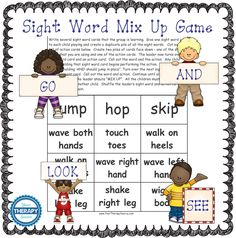 sight word mix up game from Your Therapy Source Gross Motor Activities, Free Activities, Kindergarten Activities, Physical Activities, Learning Activities, Kids Learning, Sensory Motor, Preschool Ideas, Sight Word Games