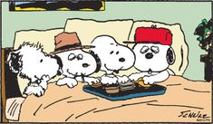 from left to right) Andy, Spike, Snoopy and Olaf. Peanuts (c) 1994 PNTS. ""