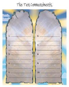 Ten Commandments Worksheet Moses Bible Crafts School Sunday