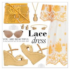 """""""Lace!!"""" by christinacastro830 ❤ liked on Polyvore featuring Miguelina, Yves Saint Laurent, Chloé, Linda Farrow and Rachel Jackson"""