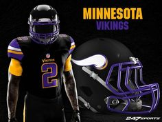 Some football fans love black jerseys, while others hate them. If you're the latter, these uniform designs may just change your mind. Football Fans, Football Jerseys, Football Helmets, Football Stuff, College Football Uniforms, Nfl Uniforms, Vikings 2, Minnesota Vikings, Indiana Colts