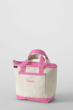 Who's hungry? Canvas Lunch Tote has an insulated liner & features a tip-proof design.