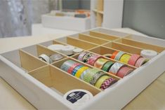 This 14 Cubby Drawer Caddy is designed to work perfectly in the Alex drawer units by Ikea and is perfect for storing washi tape, glitter, and other small items too. All wood construction makes this ve Office Supply Organization, Craft Organization, Craft Storage, Organizing Ideas, Ribbon Organization, Ribbon Storage, Storage Ideas, Home Office, Alex Drawer