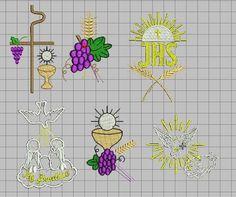 Diseños de bordados religiosos (espigas, uvas, Pax Cristi, cálices ...
