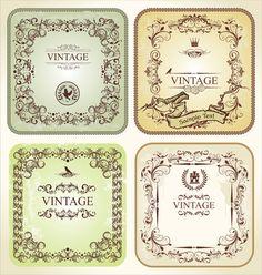 Ornament frames vintage style vector 03
