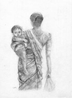 """Mother and child"" - India (pencil)"
