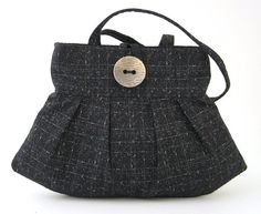 small black bag everyday purse pleated bag black by daphnenen