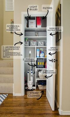 Gather all your cleaning and interior home upkeep supplies into one location like a small coat closet coats can be moved to coat hooks racks in the entry to free up this premium storage space this is the best way to organize your utility closet Small Coat Closet, Utility Closet, Front Closet, Small Closet Storage, Laundry Room Storage, Ikea Utility Room, Small Pantry Closet, Ikea Laundry, Storage Closets