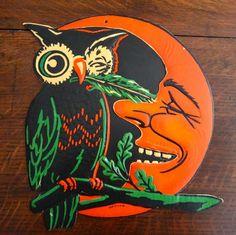 Vintage 1930s Halloween Diecut Winking Owl Moon Beistle USA Decoration | eBay