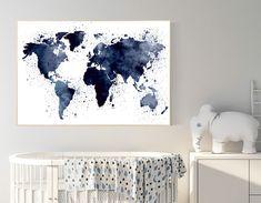Navy blue world map, world map nursery decor, nursery world map, nursery decor boy map, navy nursery, travel theme nursery, world map