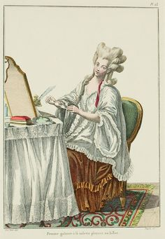 """A Most Beguiling Accomplishment: Galerie des Modes, 10e Cahier, 5e Figure (1778). Caption & long description translated by @Cassidy. """"Genteel woman at her toilette, folding a letter... Without extending here on the origin and antiquity of toilettes, we must confine ourselves to remark that a toilette is now an indispensable piece of furniture for all people; whether they have pretensions or are out of style. There are closed toilettes and dressed ones; the latter are the most excellent..."""""""