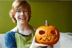 Ella Gent from Real Food Exeter in a video guide on how to carve a scary face pumpkin lantern for Halloween