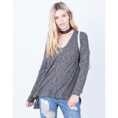 Casual Brushed Knit Hoodie Top ($34) ❤ liked on Polyvore featuring tops, hoodies, lightweight hoodies, hooded sweatshirt, light weight hoodie, long sleeve hoodies and v neck long sleeve top