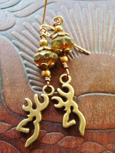 Earrings On Sale Handmade Jewelry, Gypsy Cowgirl Bohemian Bling Jewelry, Earrings, Dangle ,Camo, Browning, Buck, Hunting, Outdoors, Cowgirls - pinned by pin4etsy.com