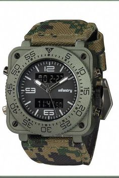60388604d3f INFANTRY Big Face Mens Military Watch Camo Tactical Wrist Watches for Men  Heavy Duty military men s