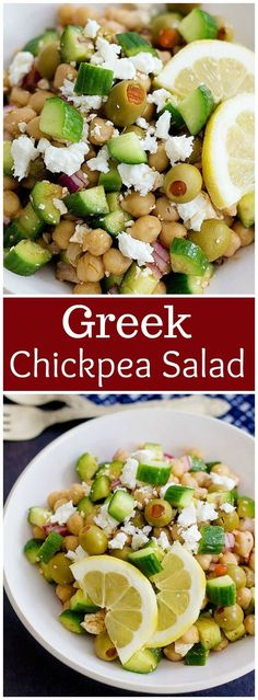 Greek Chickpea Salad is great option for a light lunch and a delicious side dish. It's made with just a few ingredients that compliment each other very well! chickpea salad | Greek Chickpea Salad | chickpea salad sandwich | chickpea salad recipe | chickpea salad healthy | Mediterranean chickpea salad | Unicornsinthekitchen.com via @UnicornsKitchen