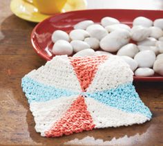 Pinwheel Dishcloth/Blanket. This could be great as blocks for an afghan.