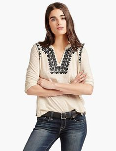 Lucky Brand Embroidered Boho Top Womens - Nigori (XS)