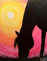 Horse silhouette painting/ for Clare Painted Horses, Silhouette Painting, Horse Silhouette, Black Silhouette, Easy Paintings, Simple Acrylic Paintings, Canvas Paintings For Kids, Landscape Paintings, Pastel Paintings