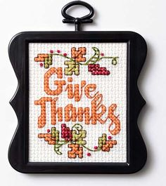 "Cross Stitch Ideas Needlecrafting - Free Thanksgiving ""Give Thanks"" Cross Stitch Pattern - Before your prepare you home for Thanksgiving, enjoy this quick and easy free Thanksgiving cross stitch pattern! Fall Cross Stitch, Cross Stitch Heart, Cross Stitch Cards, Simple Cross Stitch, Cross Stitching, Free Cross Stitch Charts, Cross Stitch Freebies, Counted Cross Stitch Patterns, Cross Stitch Designs"