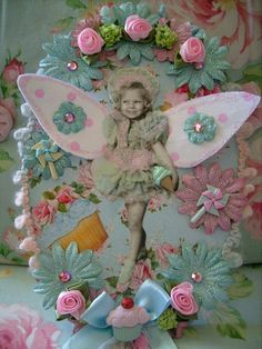 Whimsical,altered art,shabby,cottage,fairy,wings,cupcake,sweets,wall hanging 1 by stephanies cottage!, via Flickr
