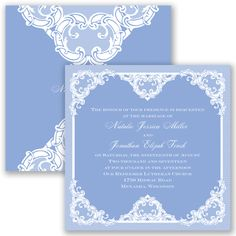 Make your wedding one of a kind with this romantic two-sided printed lace invitation. The marquis-size wedding invitation features a gorgeous printed lace pattern on the front and continues on the back, highlighting your first names.  Product Details:    Invitation Size: 5 1/2' x 5 1/2'  Card Type:   Flat non-folding   Prints In: Flat, Digital Ink  Ink Color: Choose from a variety of ink options including David's Bridal exclusive colors  Choice of fonts and verses  Optio...