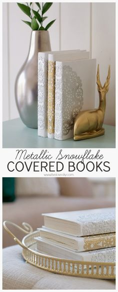 DIY covered books using white paint, Mod Podge, and doilies! Great handmade gift idea for the holidays!