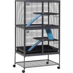 MidWest Deluxe Critter Nation Double Unit Small Animal Cage (Model Includes 2 leak-Proof Pans, 2 Shelves, 3 Ramps w/ Ramp Covers & 4 locking Wheel Casters, Measures 36 Chinchilla Cage, Ferret Cage, Degu Cage, Pet Rat Cages, Cat Cages, Critter Nation Cage, Sugar Glider Cage, Sugar Gliders, Hedgehog Cage