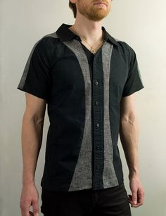 Industrial dress shirt in black and gray by PopLoveHis on Etsy