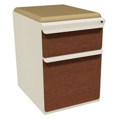 Mobile Pedestal with Forsythia Fabric Seat and Laminate Front File Drawer / Storage Drawer - 19 in.