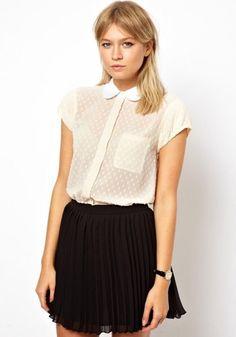 Beige Plain Short Sleeve Wrap Blouse  loving this for business dress code
