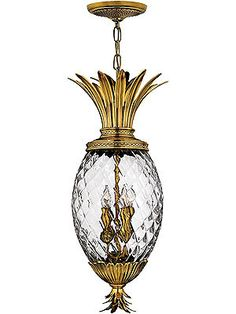Hanging Lighting Fixtures. Plantation Pineapple Pendant With Clear Optic Glass