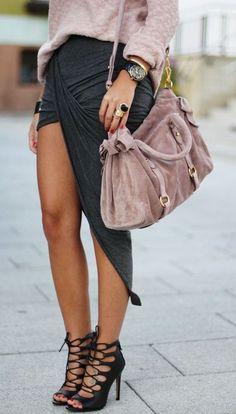 Triangle Layer Skirt & Strappy Heels ♡ L.O.V.E.