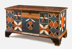 Johannes Spitler, Dower chest, Shenandoah County, Virginia, 1800  http://www.americanantiqueart.com/html/dower_chest_paint_decorated.html#