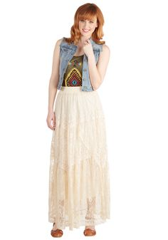 Swaying and Swooning Skirt, #ModClothLooking for romance? You'll find it in the antiqued, creamy hue and lace length of this boho maxi skirt. Fully lined and fitted with an elasticized waist, this feminine bottom is the definition of beauty. Grace it with an olive tank, an oversized-buckled belt, and gladiator sandals for a look that's casual, sure - but completely lovely, as well.