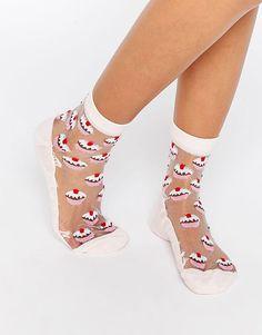 Sheer Cupcake Ankle Socks