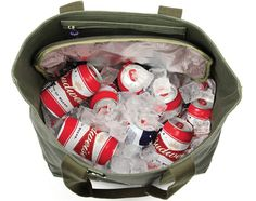 DQM Chinook Cooler Bag ~ Heavy-duty waxed canvas bag with hidden, zipped cooler compartment that carries cold or hot items (and can fit a 12 pack of beer) Waxed Canvas Bag, Cooler Box, Bug Out Vehicle, Best Water Bottle, Bottle Bag, Six Packs, Baby Car Seats, Oregon Trail, Lunch Bags