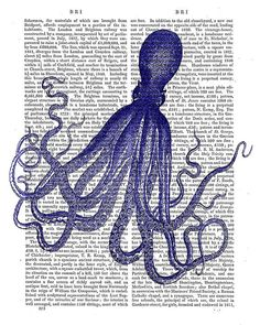 Blue Vintage Octopus 4  Octopus print nautical by DottyDictionary, $15.00