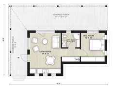Granny pods layout Cabin Style House P - grannypods Little House Plans, Guest House Plans, Pool House Plans, Modern House Plans, Small House Plans, 500 Sq Ft House, Granny Pods, Small Cabin Plans, Studio Apartment Layout