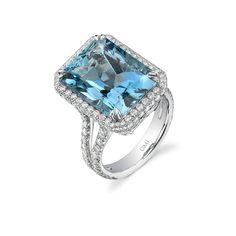Omi Prive ~ Aquamarine and Diamond Ring