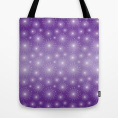 Purple Gradient with White Sparkle Starbursts Tote Bag by DazzetteMarie - $22.00