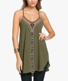 Look at this #zulilyfind! Olive Geometric Shift Dress #zulilyfinds
