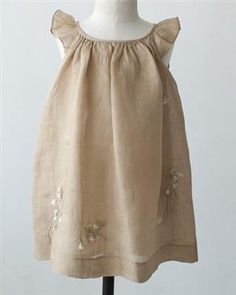 [Only] shop BONPOINT 2012SS Kids Sleeveless Linen Dress (163 UPB FICELL light brown) 3A-6A