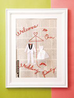 赤い糸のウエルカムボード 手作り結婚式のすすめ「幸せのたね。」