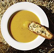 Pumpkin Soup with Sage and Gruyère Croutons add garlic for flavor acc to reviews